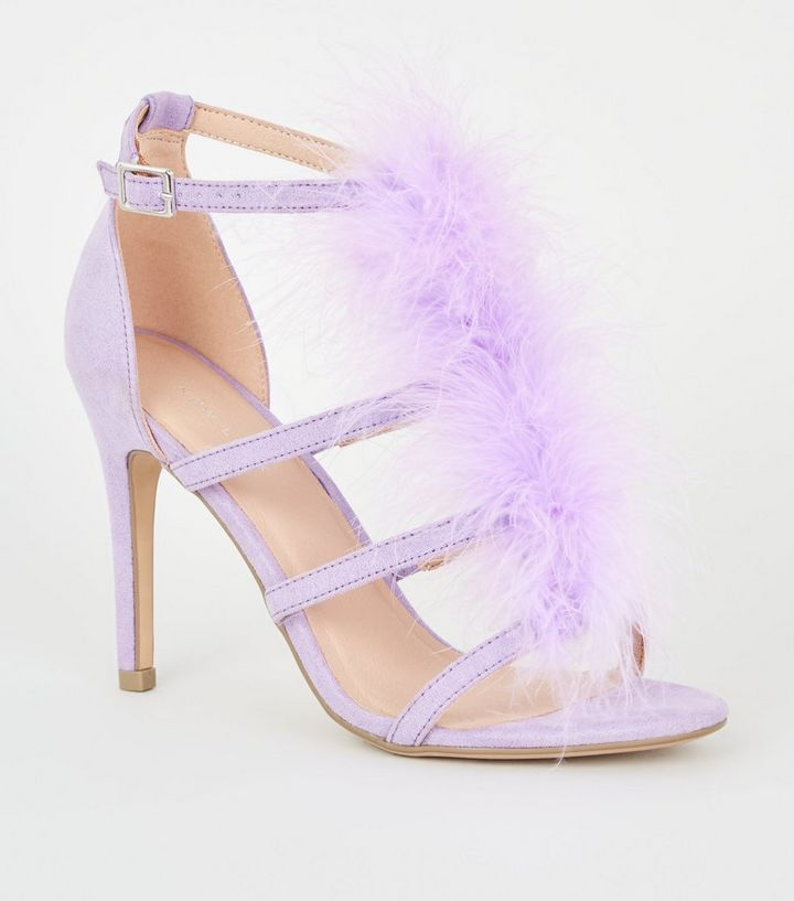 b4f1298af0ca Lilac Feather Trim Caged Stiletto Heels