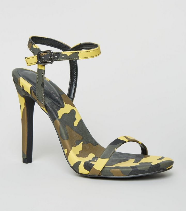 a918bbf03 Green Camo Print Stiletto Heel Sandals | New Look