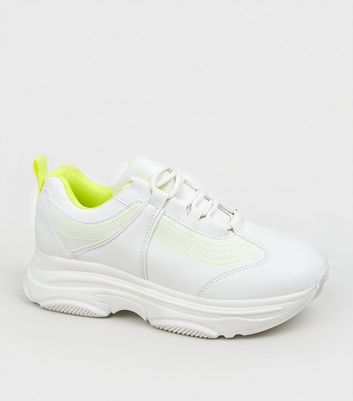 White Leather-Look Neon Trim Chunky Trainers