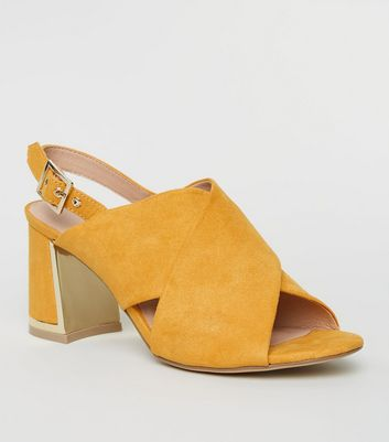 Mustard Cross Strap Metal Trim Heels