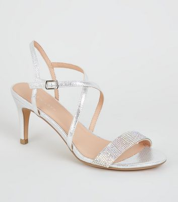 Silver Metallic Diamanté Strappy Heels