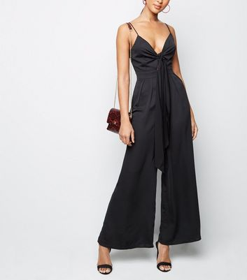 Black Tie Front Wide Leg Jumpsuit