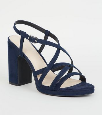 Navy Comfort Flex Strappy Heeled Sandals