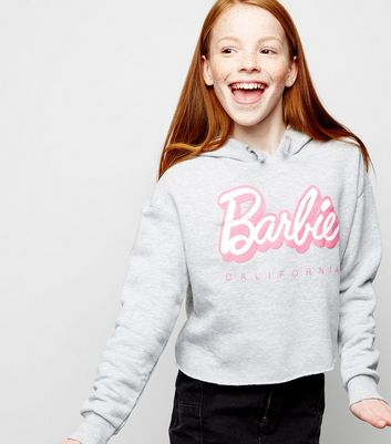 Girls Grey Barbie Slogan Hoodie