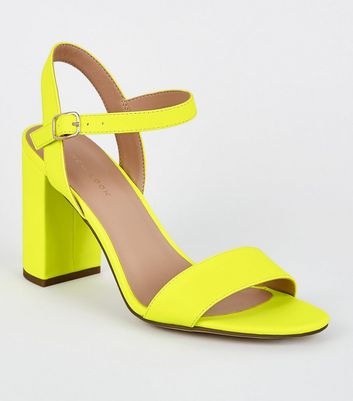 Yellow Neon 2 Part Block Heels