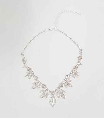 Silver Premium Leaf Diamanté Necklace