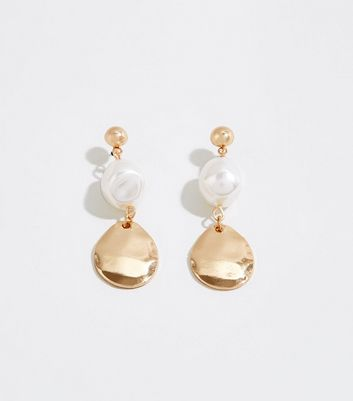 Gold Faux Pearl Disc Drop Earrings