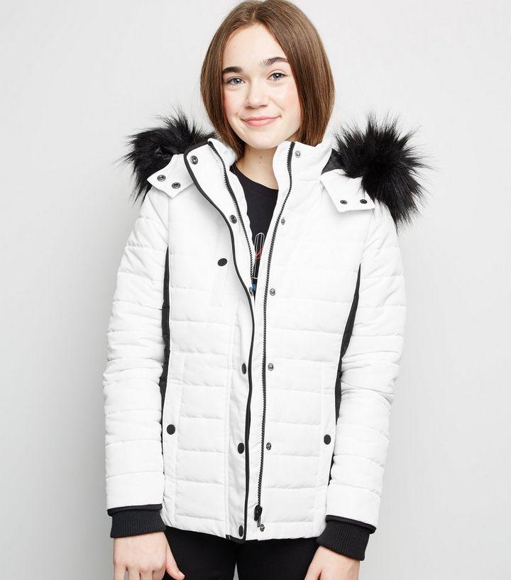 0c4368e45 Girls White Ski-Style Puffer Jacket   New Look