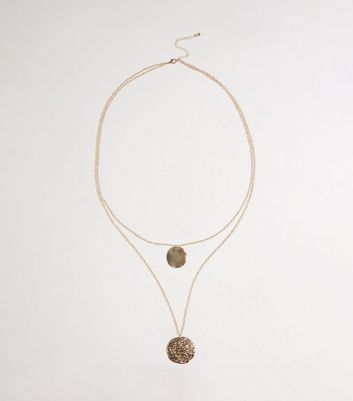 Gold Hammered Disc Layered Pendant Necklace