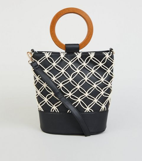 a787bb5f6d ... Black Leather-Look Macrame Bucket Bag ...