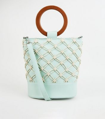 Mint Green Leather-Look Macrame Bucket Bag