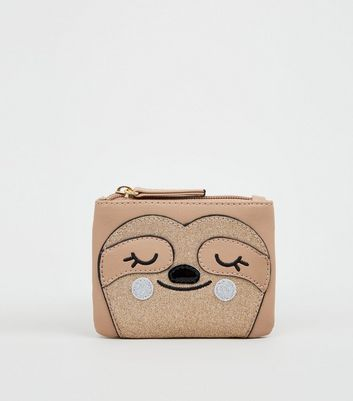Camel Sloth Zip Top Coin Purse