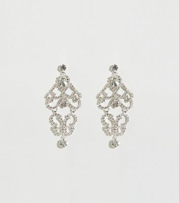 Silver Diamanté Chandelier Earrings