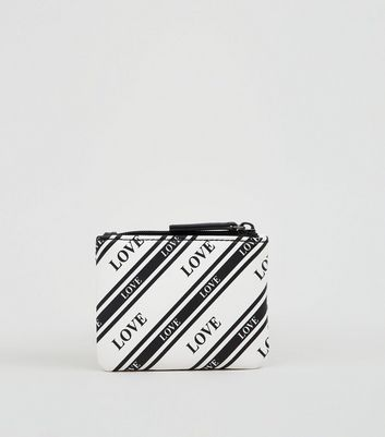 Black Stripe Love Slogan Zip Top Coin Purse