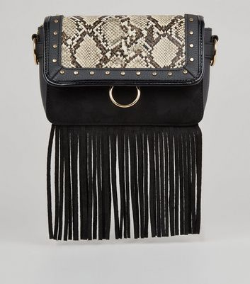Black Fringe Faux Snake Cross Body Bag