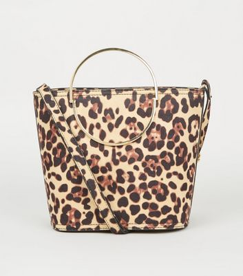 Brown Leopard Print Half Circle Bucket Bag