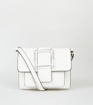 White Clear Buckle Cross Body Bag