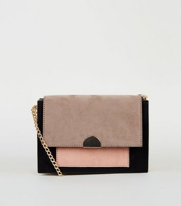 Pink Colour Block Chain Shoulder Bag