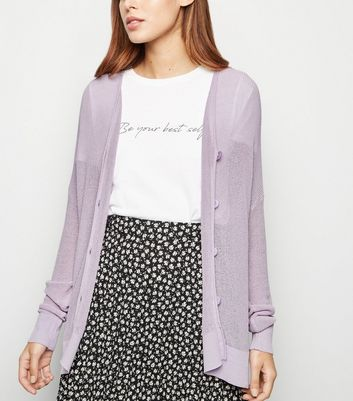 Lilac Mesh Knit Button Up Cardigan