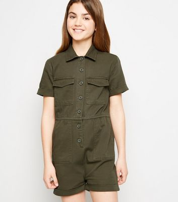 Girls Khaki Utility Playsuit