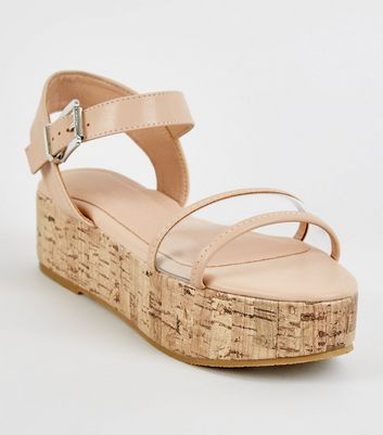 Girls Nude Clear Strap Cork Flatform Sandals