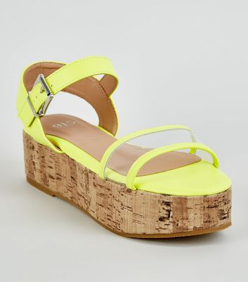 Girls Yellow Neon Clear Strap Cork Flatform Sandals