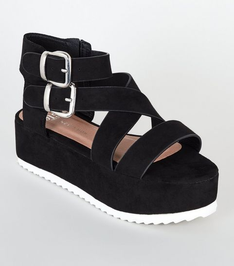 56d7c899cabc ... Girls Black Suedette Strappy Flatform Sandals ...