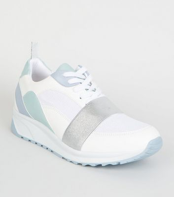 White and Silver Strap Colour Block Trainers