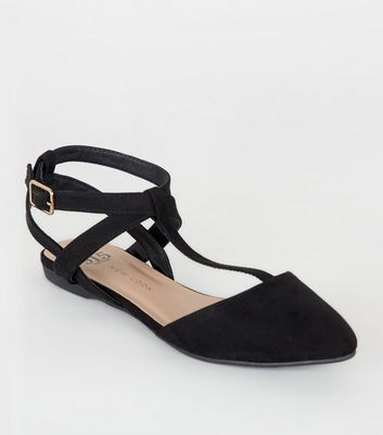 Girls Black T-Bar Strappy Pumps