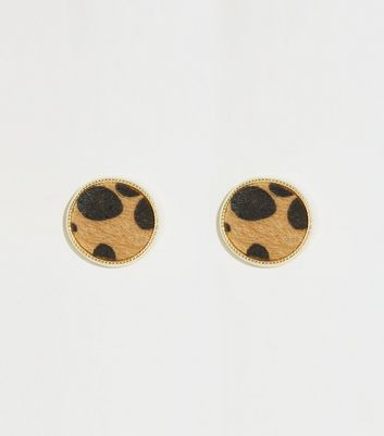 Brown Faux Leopard Fur Disc Earrings