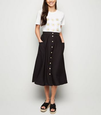 Black Button Pocket Front Midi Skirt
