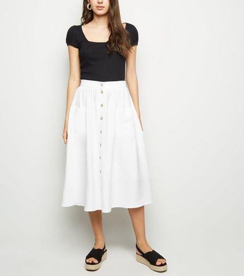 e7ba7c6014 ... White Button Pocket Front Midi Skirt ...