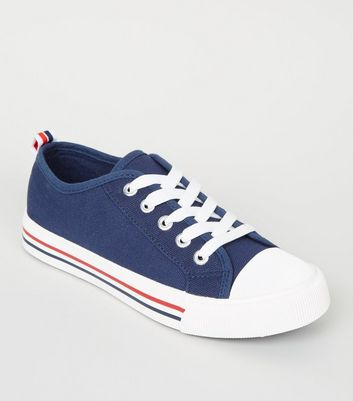 Girls Navy Stripe Sole Lace Up Trainers