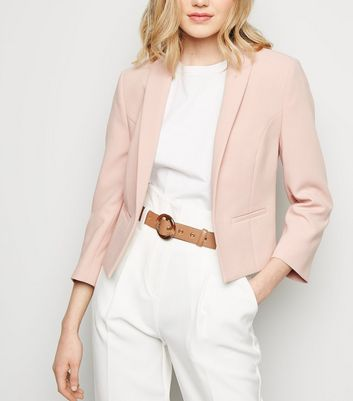 Pale Pink 3/4 Sleeve Blazer by New Look