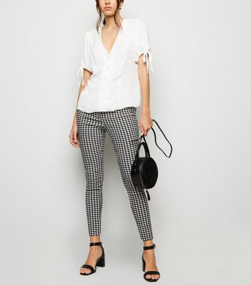 Black Gingham Check Slim Fit Trousers