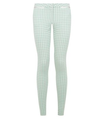 Green Gingham Check Slim Fit Trousers New Look