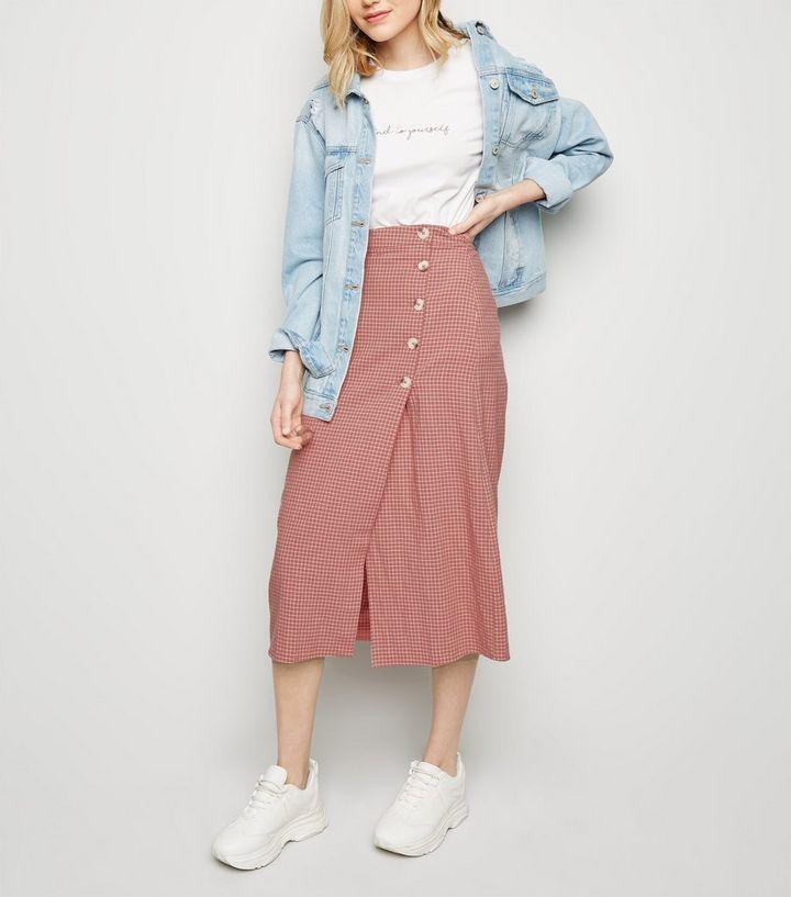 82de2a88a5 Pink Grid Check Midi Skirt | New Look