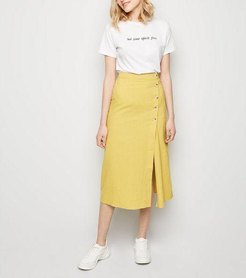 0e0e4ba5bc ... Yellow Grid Check Midi Skirt ...