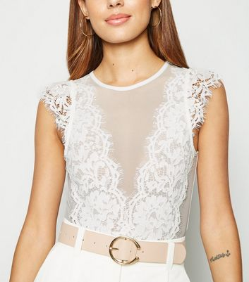 White Lace Trim Mesh Bodysuit