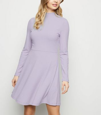 Lilac Ribbed High Neck Skater Dress