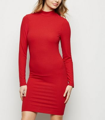 Dark Red Ribbed High Neck Mini Dress
