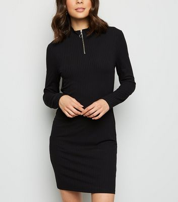 Black Zip High Neck Ribbed Mini Dress
