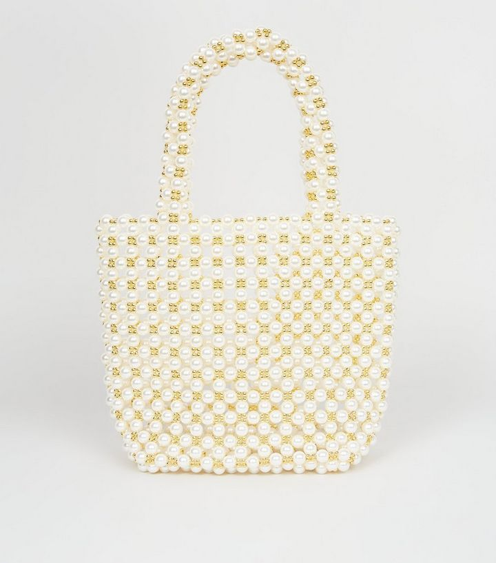 Off White Faux Pearl Beaded Bag