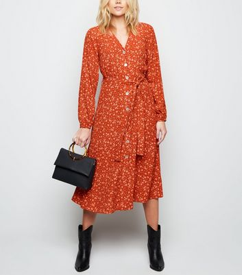 Rust Floral Long Sleeve Button Front Midi Dress