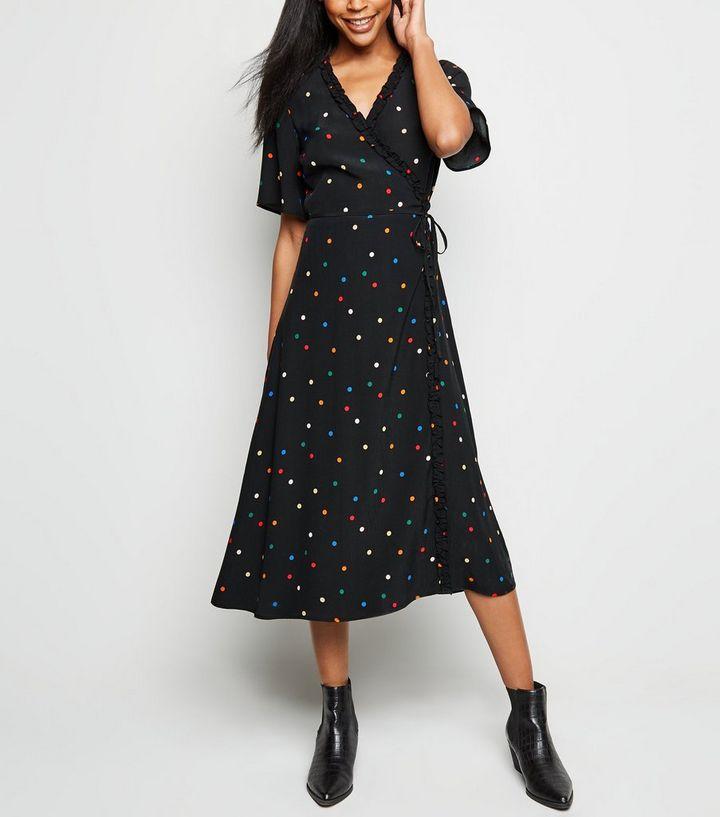 340dc7785255a Black Spot Print Frill Wrap Midi Dress | New Look