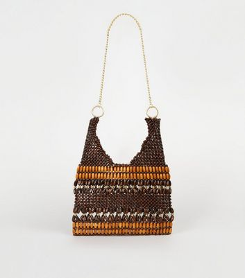 Brown Wood Bead Chain Strap Shoulder Bag