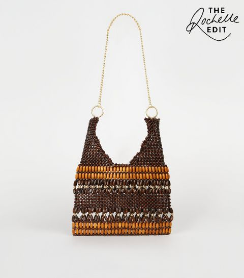 823c372829 ... Brown Wood Bead Chain Strap Shoulder Bag ...