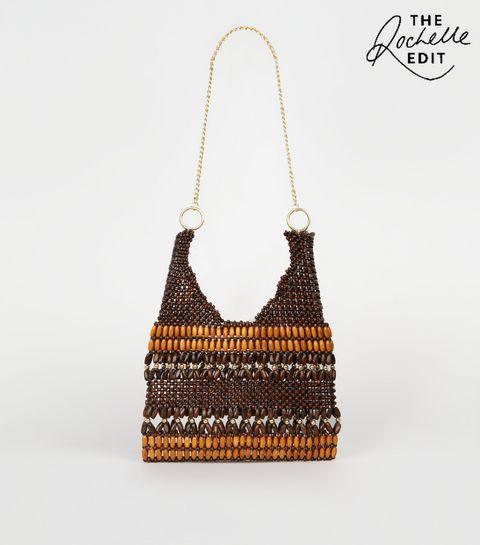 532de5efba ... Brown Wood Bead Chain Strap Shoulder Bag ...