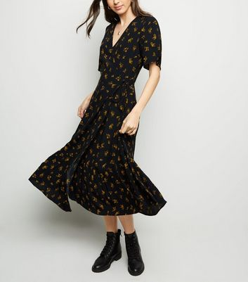 Black Floral Tiered Midi Wrap Dress