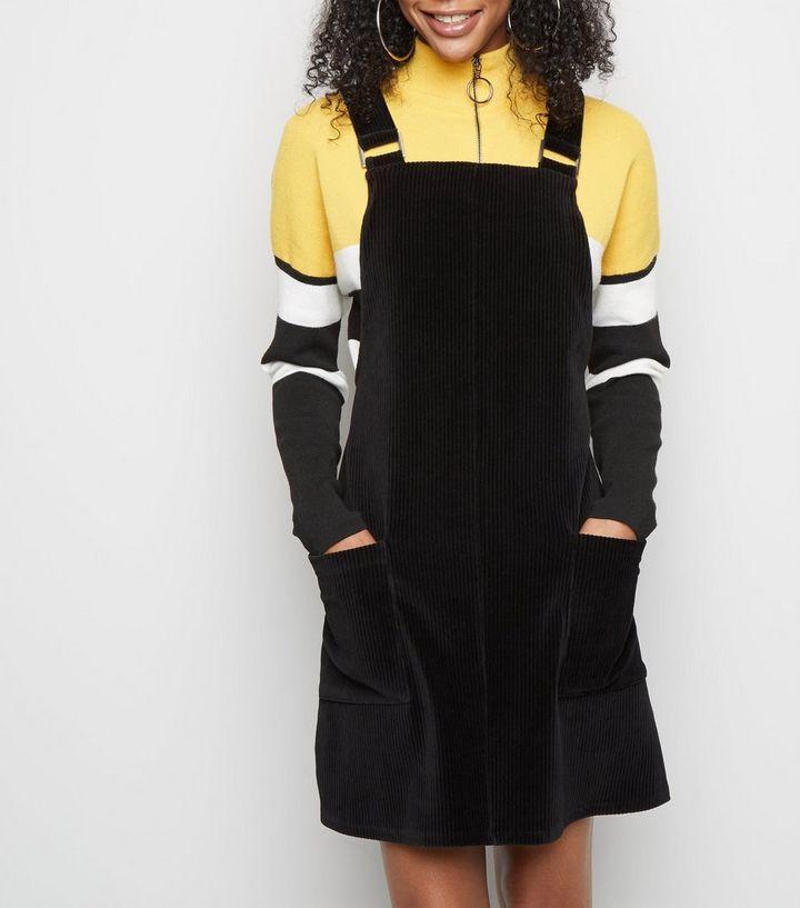 Black Velvet Corduroy Pinafore Dress New Look